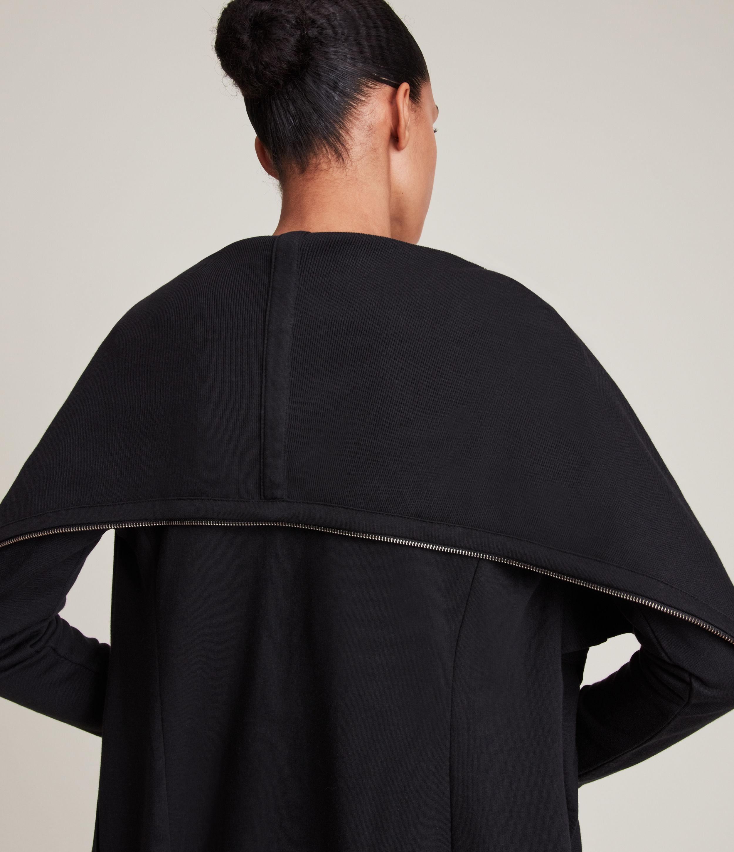 AllSaints Women's Cotton Relaxed Fit Dahlia Sweatshirt, Black, Size: M