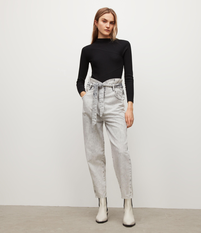 AllSaints Womens Gia Bodysuit, Black, Size: 8