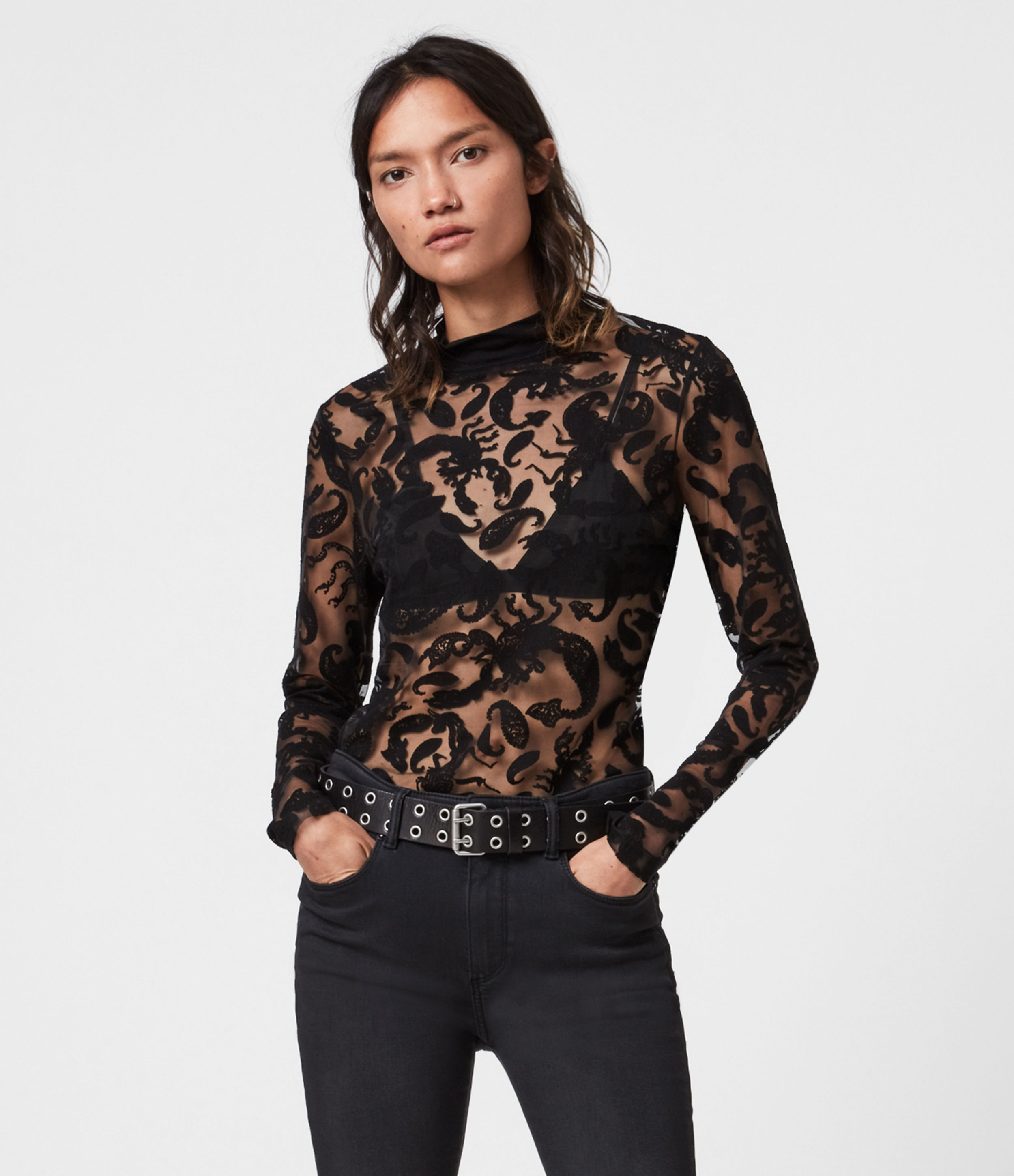 AllSaints Bela Celeste Roll Neck Top