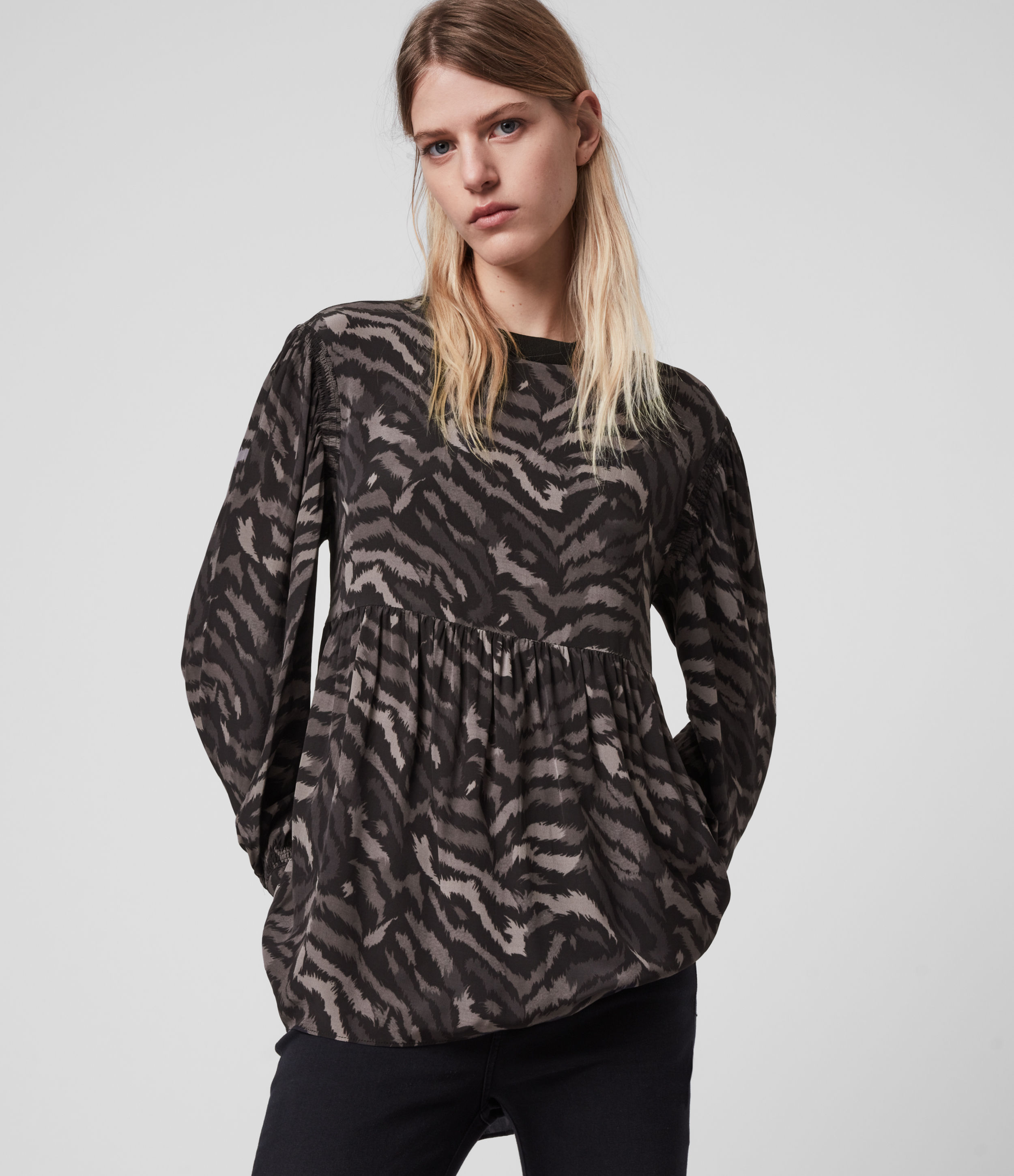 AllSaints Women's Remix Print Relaxed Fit Fayre Top, Grey and Black, Size: XS