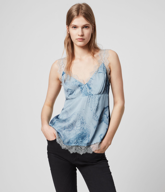 AllSaints Womens Skylar Hatsukoi Top, Blue, Size: 12