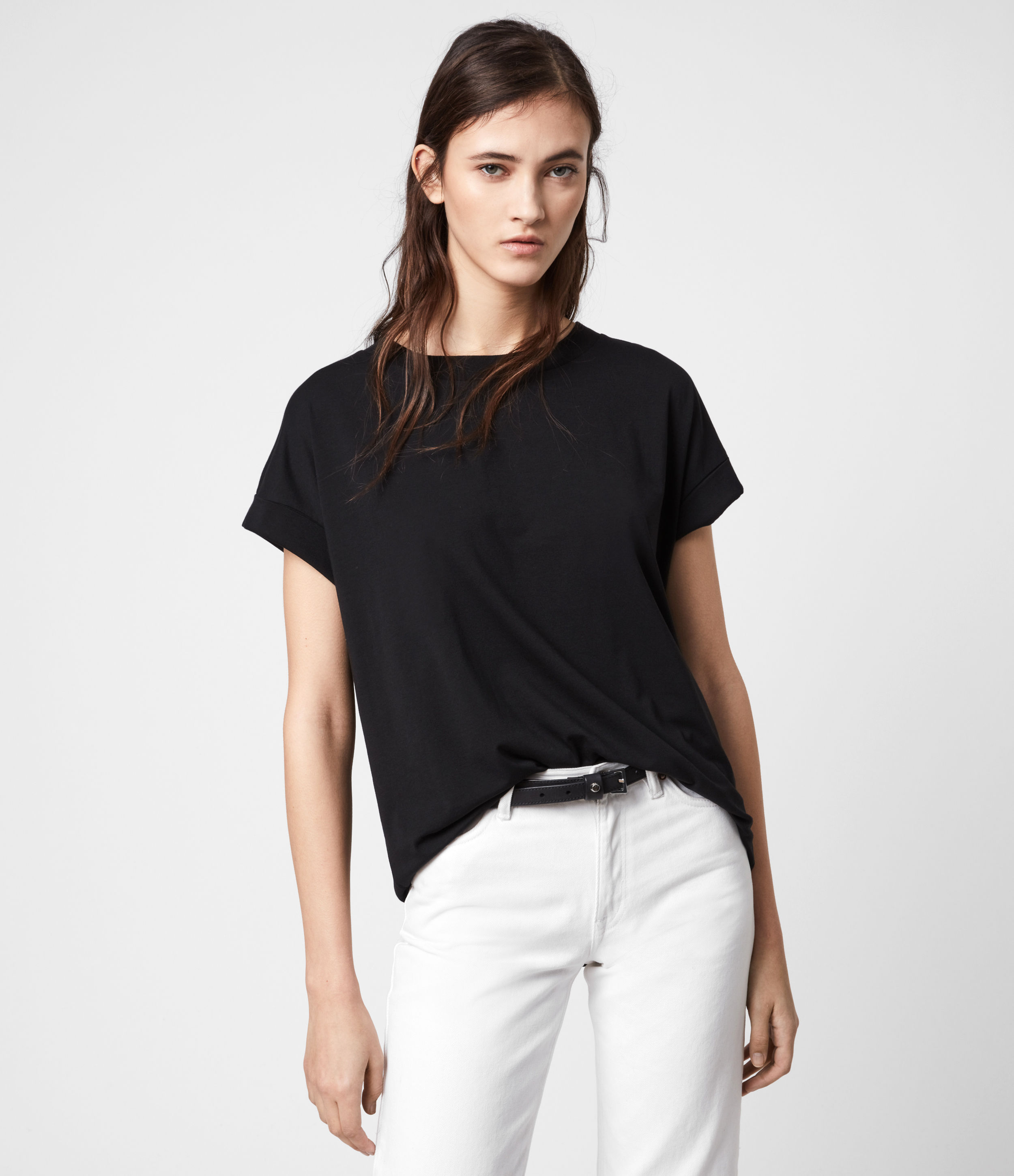 AllSaints Women's Cotton Imogen Boy T-Shirt, Black, Size: M/L