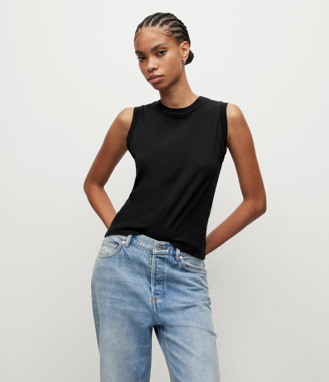 AllSaints Women's Cotton Lightweight Imogen Tank Top, Black, Size: M