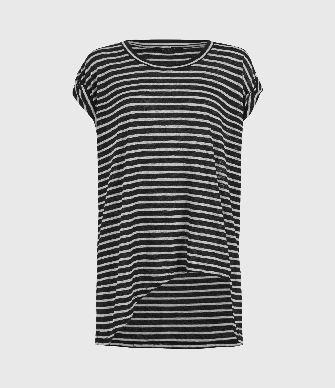 AllSaints Womens Sanza Stripe Tank, Black/Chalk, Size: M