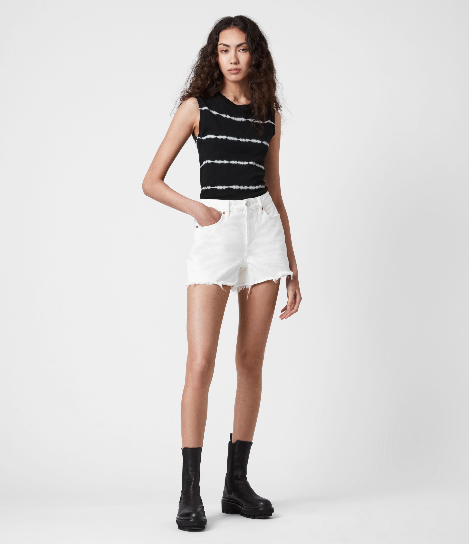 AllSaints Women's Imogen Tie Dye Stripe Tank, Black, Size: 6