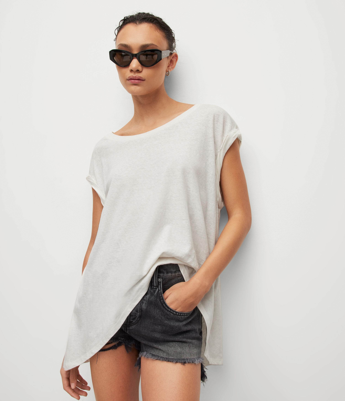 AllSaints Women's Sanza Linen Blend Tank, Chalk White, Size: M