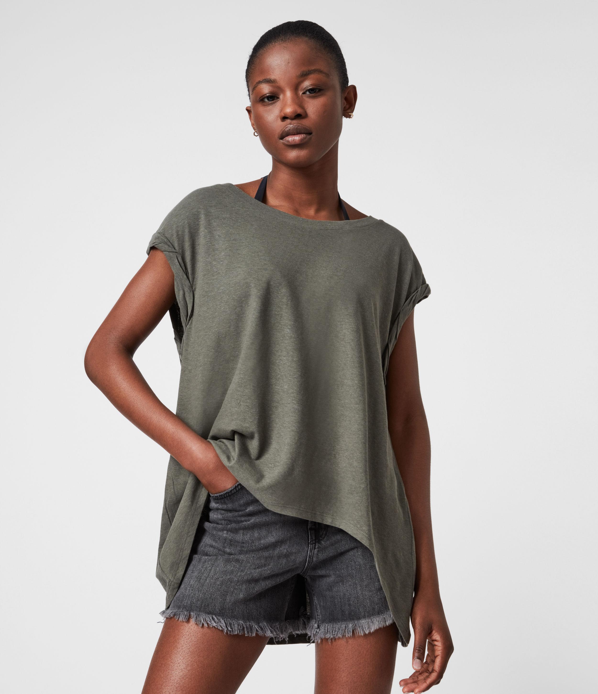 AllSaints Women's Sanza Linen Blend Tank, Utility Green, Size: L