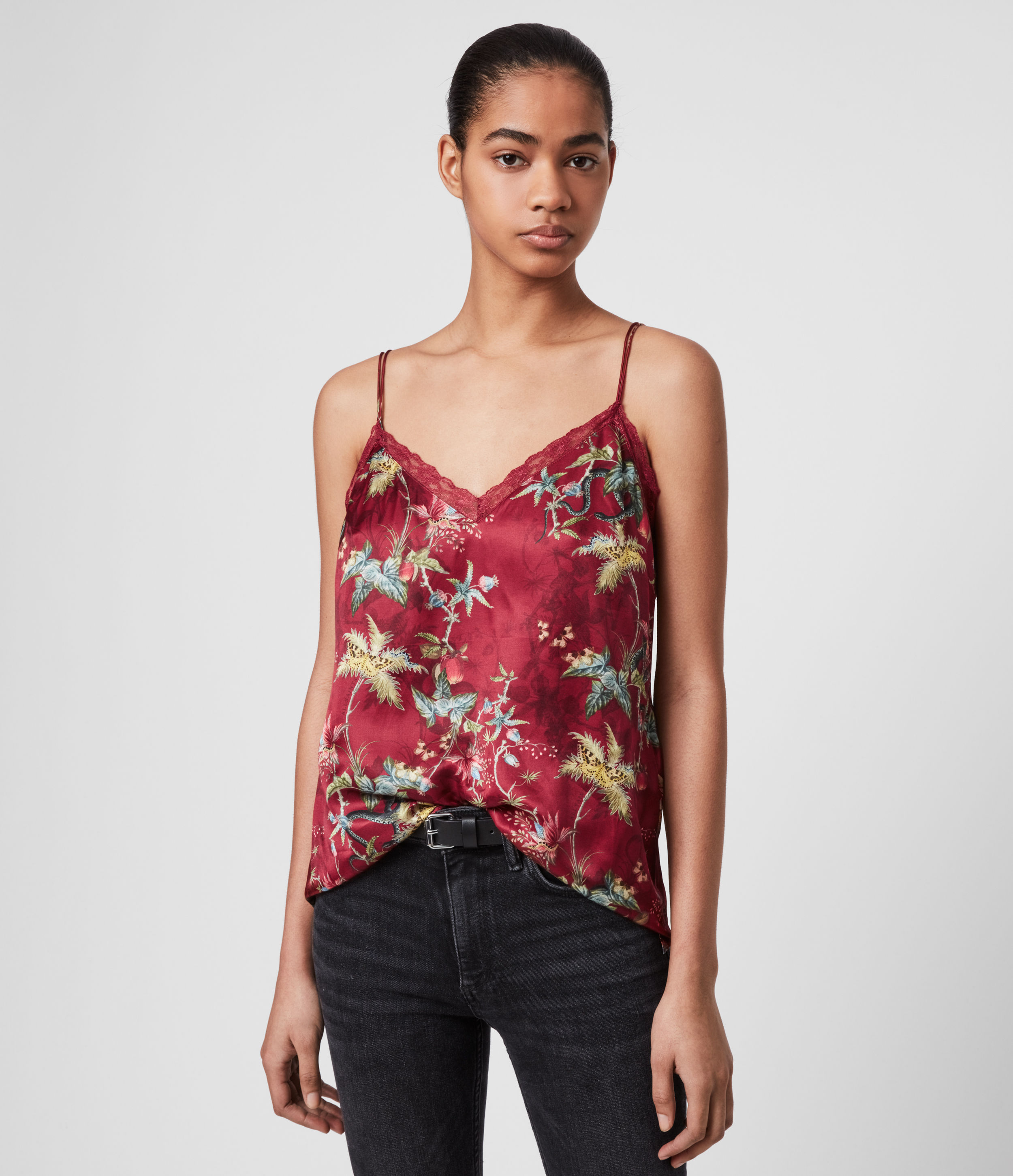 AllSaints Womens Nia Evolution Top, Red, Size: S