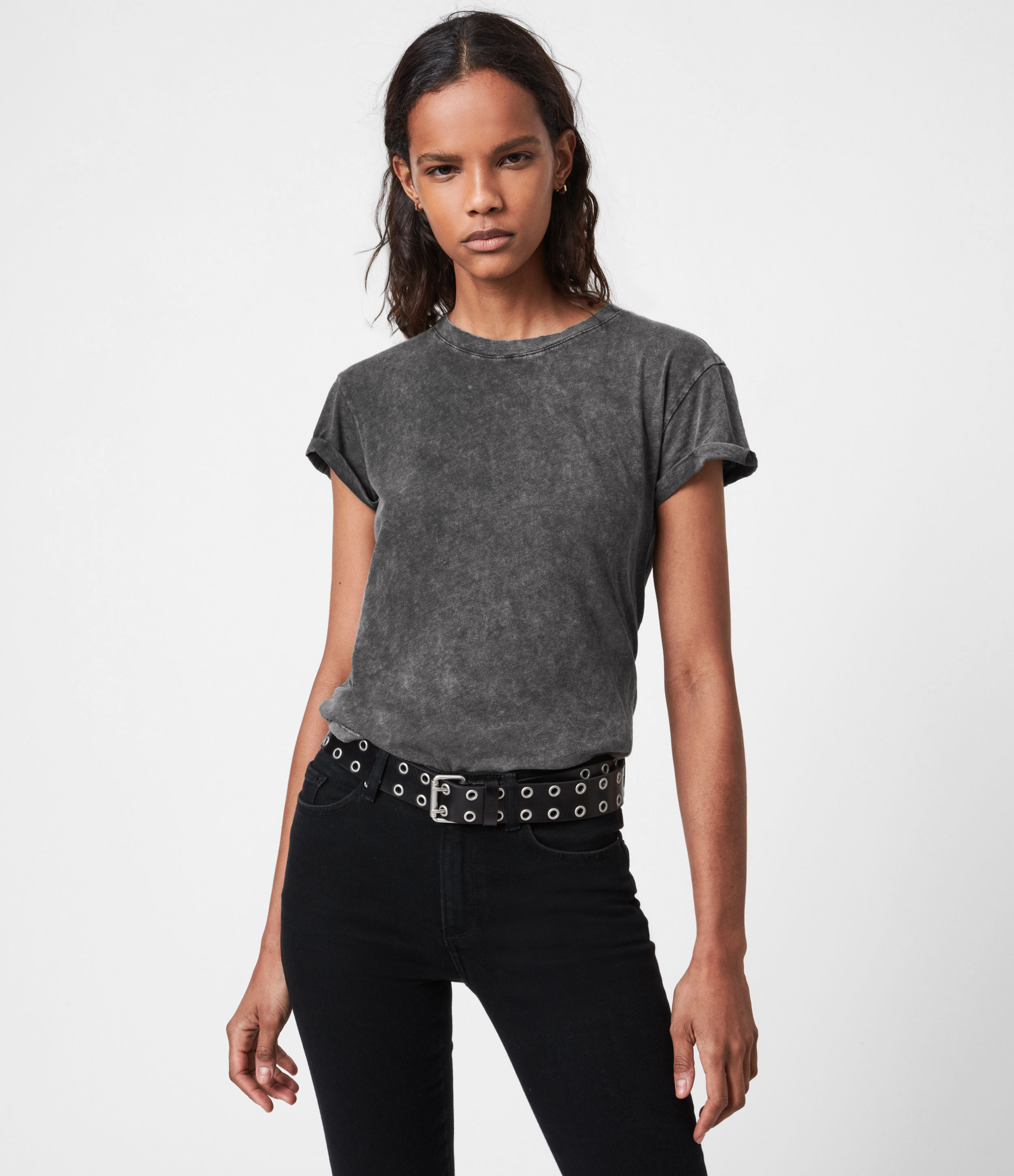 AllSaints Womens Anna T-Shirt, Acid Washed Black, Size: 10