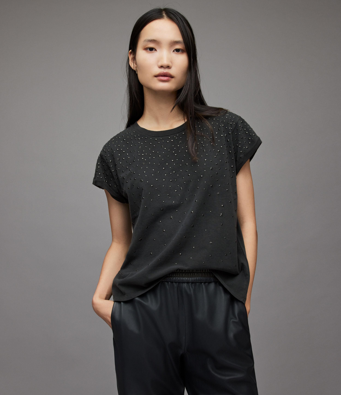 AllSaints Women's Apus Anna T-Shirt, Vintage Black, Size: 10