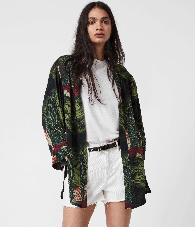 AllSaints Womens Carina Swoop Kimono, Moss Green, Size: 4