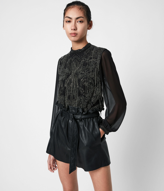 AllSaints Womens Isla Ossia Top, Black, Size: 10