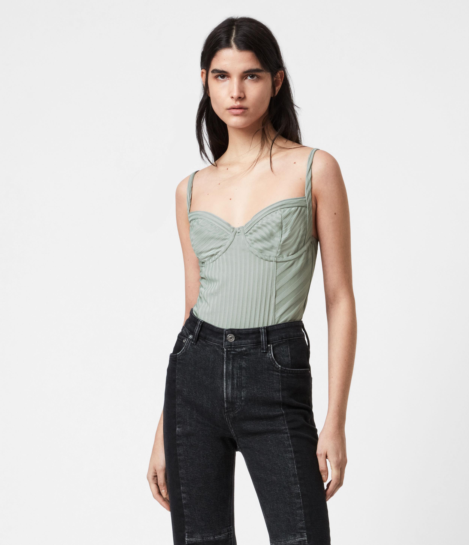 AllSaints Women's Yuni Rib Bodysuit, Green, Size: 12