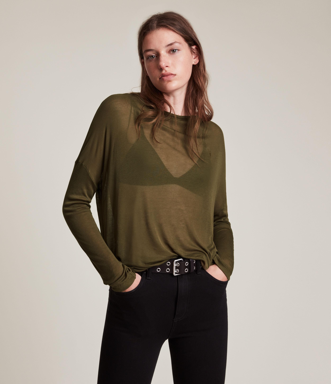 AllSaints Women's Francesco Rita Tee, Khaki Green, Size: M