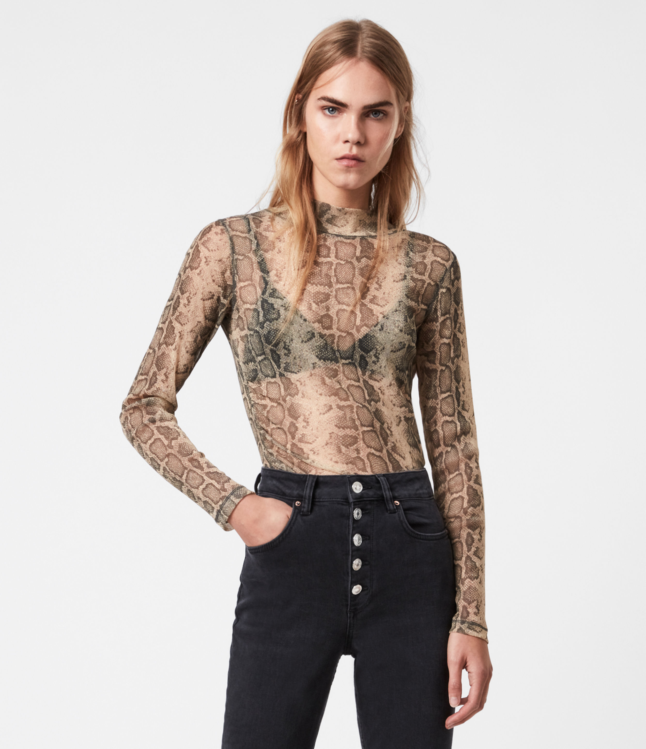 AllSaints Francesco Snake Top