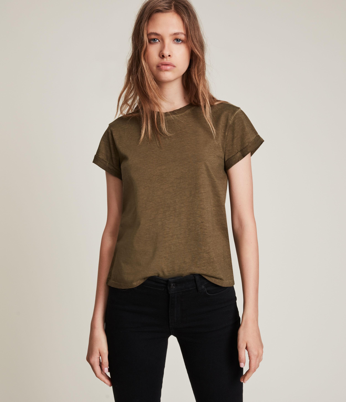 AllSaints Women's Anna T-Shirt, Khaki Green, Size: 8