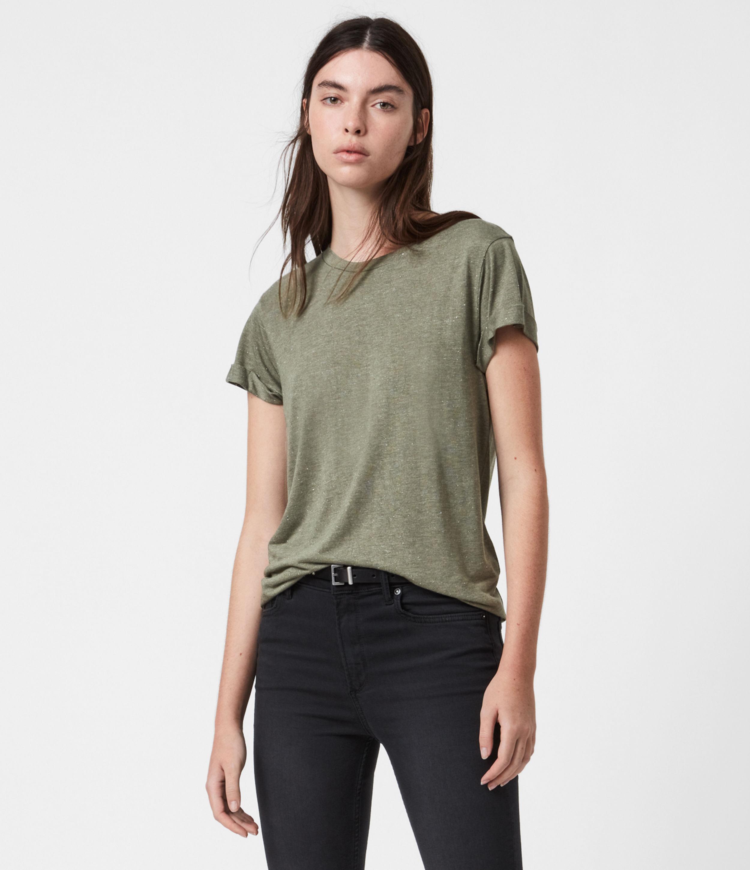 AllSaints Womens Anna Shimmer T-Shirt, Khaki Green, Size: 6