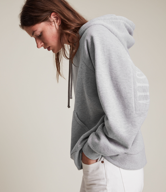 AllSaints Women's Talon Hoodie, Grey Marl, Size: S