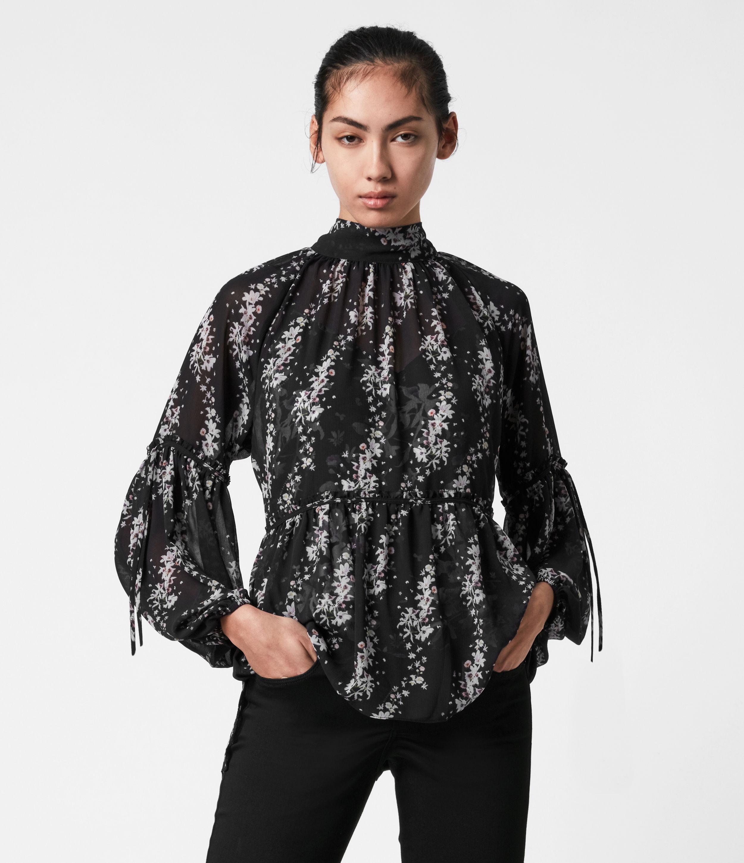 AllSaints Womens Eimear Cultivar Top, Black, Size: 8