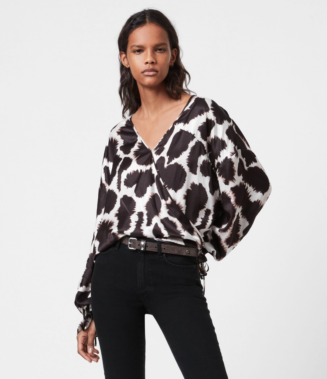 AllSaints Womens Penny Silk Blend Tabula Top, Ecru White, Size: 10
