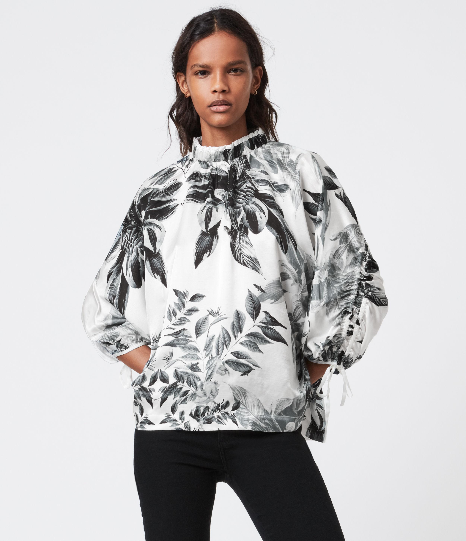 AllSaints Women's Rora Creation Silk Blend Top, White, Size: 2