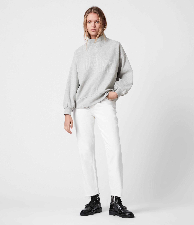 AllSaints Womens Nevarra Splitsaints Sweatshirt, Grey Marl, Size: XS