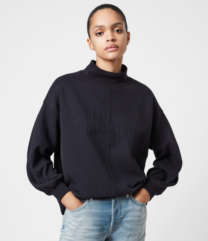 AllSaints Women's Nevarra Split Saints Sweatshirt, Ink Blue, Size: S