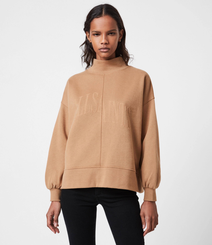 AllSaints Womens Nevarra Split Saints Sweatshirt, Desert TAN, Size: XS