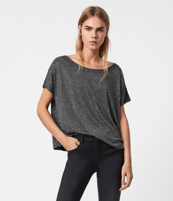 AllSaints Women's Lightweight Helene Sparkle T-Shirt, Grey, Size: 4
