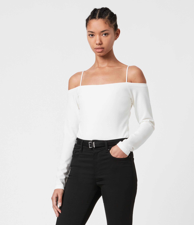 AllSaints Women's Audery Bodysuit, Chalk White, Size: 8