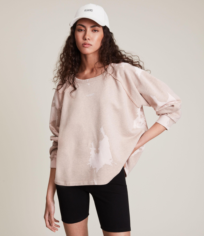 AllSaints Women's Jessi Tie Dye Sweatshirt, Pink Marl, Size: XS
