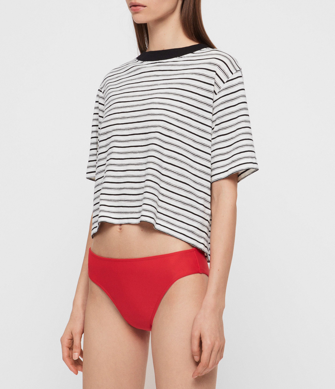 AllSaints Womens Gina Bikini Bottoms, Red, Size: M