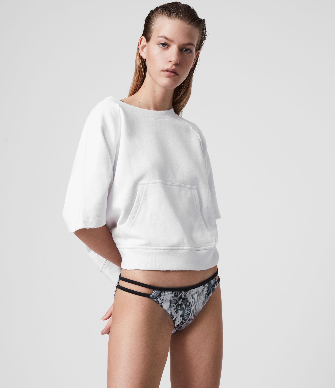 AllSaints Womens Cara Masala Bikini Bottoms, Grey, Size: M