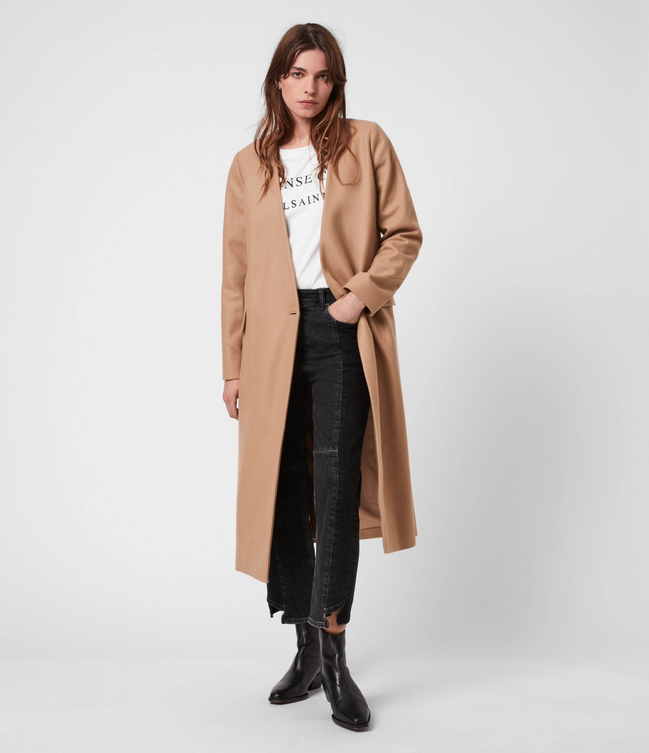 AllSaints Womens Rada Cashmere-Wool Coat, Camel Brown, Size: 6