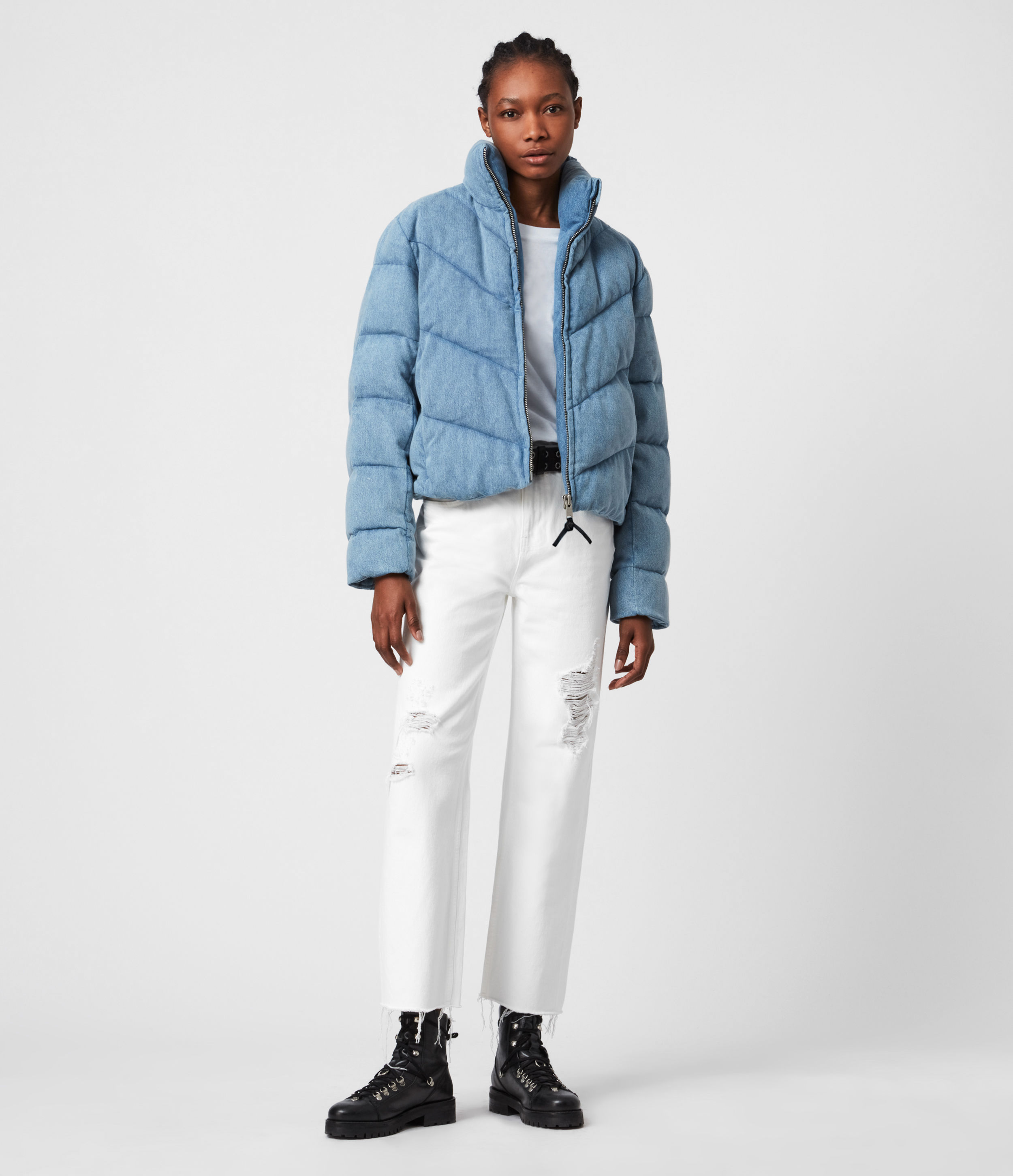 AllSaints Dallas Denim Puffer Coat
