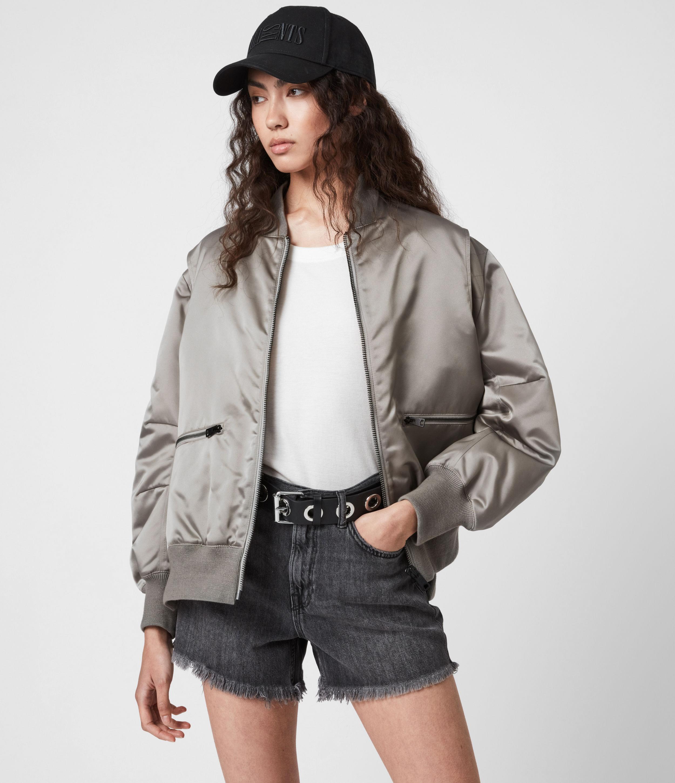 AllSaints Women's Brooke Bomber Jacket, Pale Grey, Size: 4