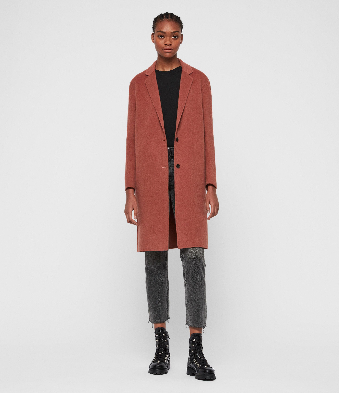 AllSaints Womens Anya Coat, Pink, Size: S