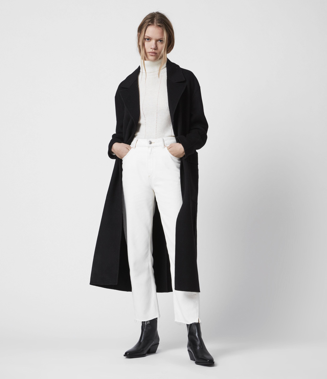AllSaints Hazel Wool Blend Coat, Black, Womens, Size: 8