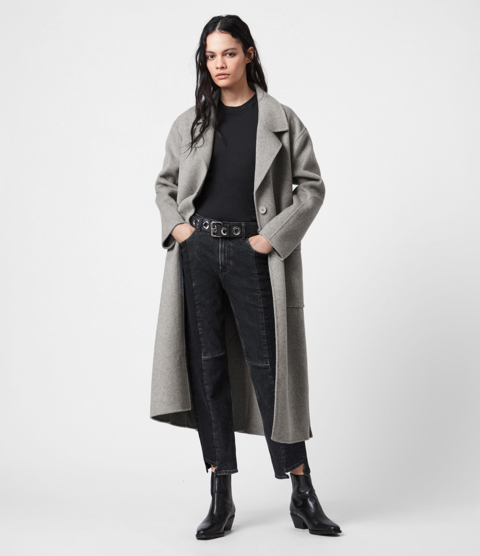 AllSaints Womens Hazel Wool Blend Coat, Grey, Size: 14