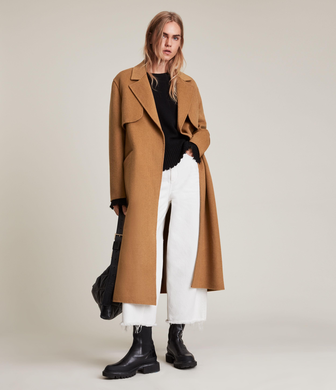 AllSaints Women's Bree Coat, Caramel Brown, Size: 10