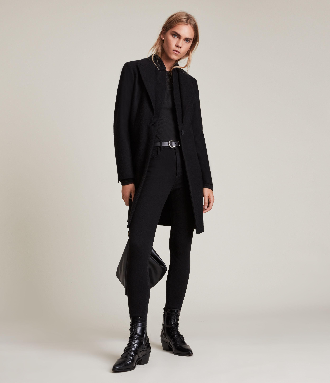 AllSaints Women's Lyris Coat, Black, Size: 12