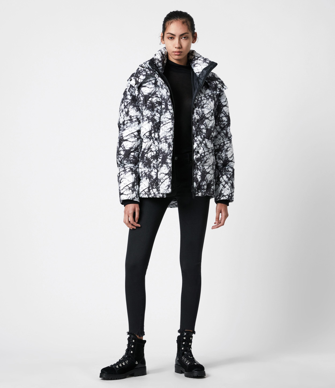 AllSaints Womens Wren Tie Dye Puffer Coat, Black/White, Size: 2