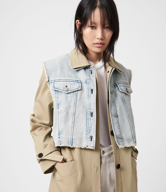 AllSaints Womens Zadie 2-In-1 Trench Coat, Beige/denim Blue, Size: 6