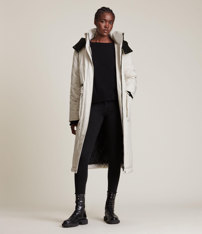 AllSaints Women's Hattie Puffer Coat, White, Size: 4
