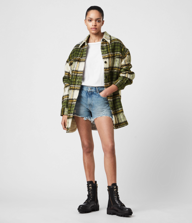 AllSaints Women's Sophie Check Jacket, Green/ecru White, Size: 12