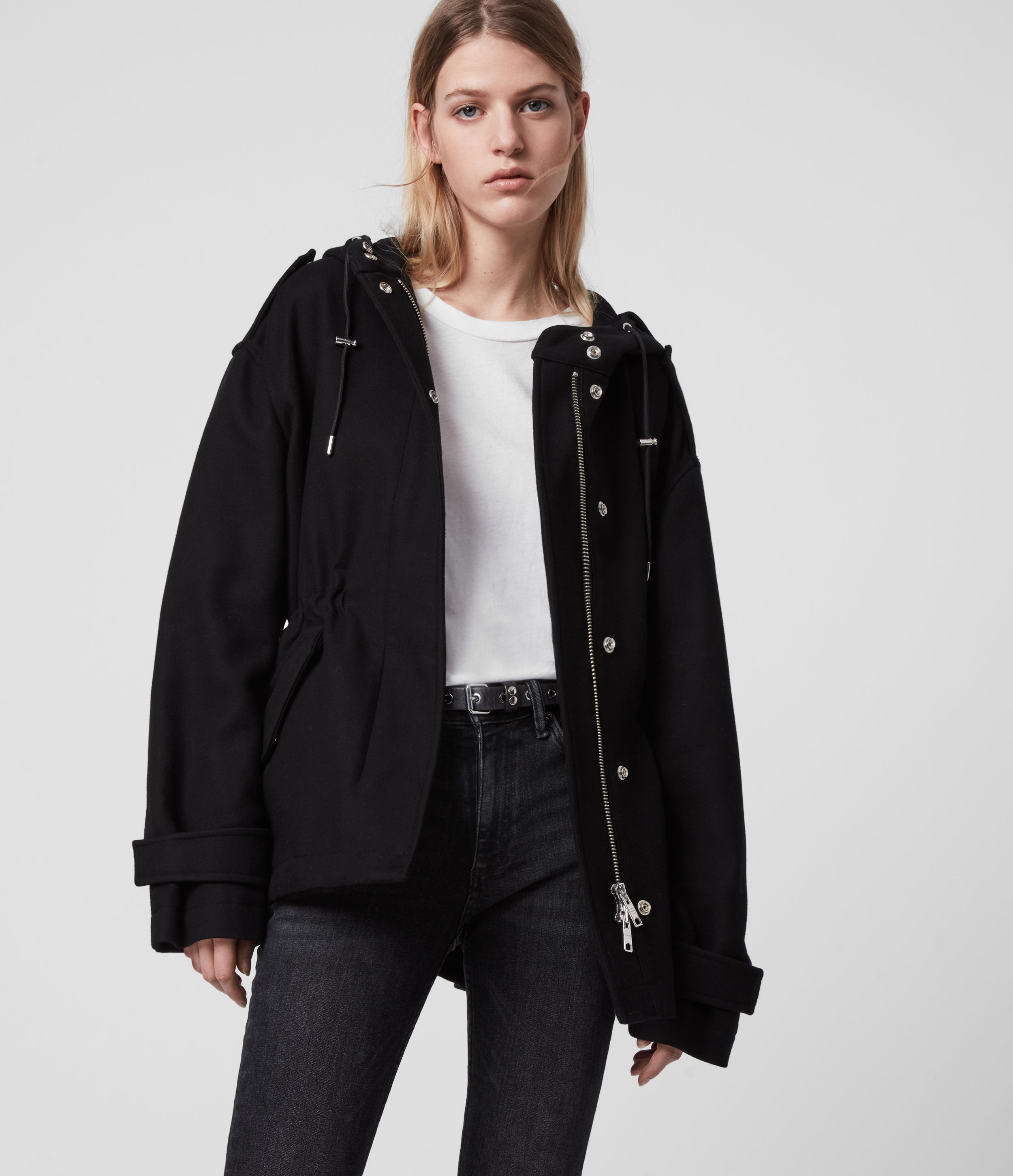 AllSaints Women's Cotton Kelsie Jacket, Black, Size: XS