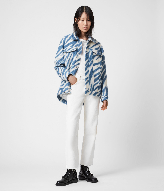 AllSaints Womens Faye Jacket, Blue/white, Size: 10