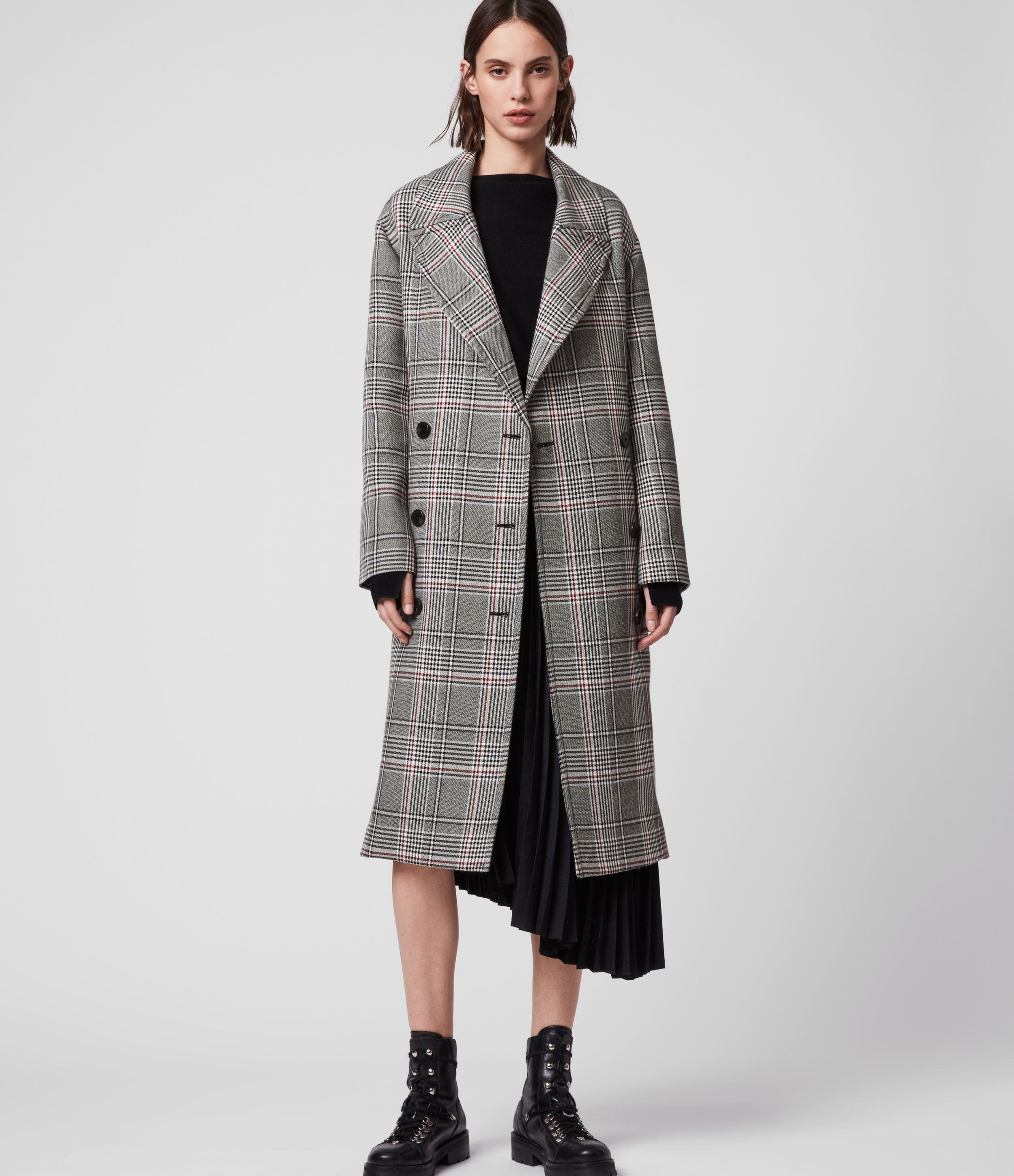 AllSaints Women's Cotton Check Relaxed Fit Tyla Trench Coat, Black and White, Size: M