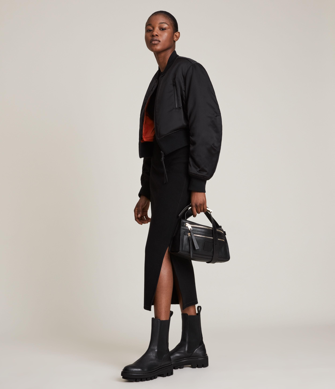AllSaints Women's Rhett Bomber Jacket, Black, Size: 6