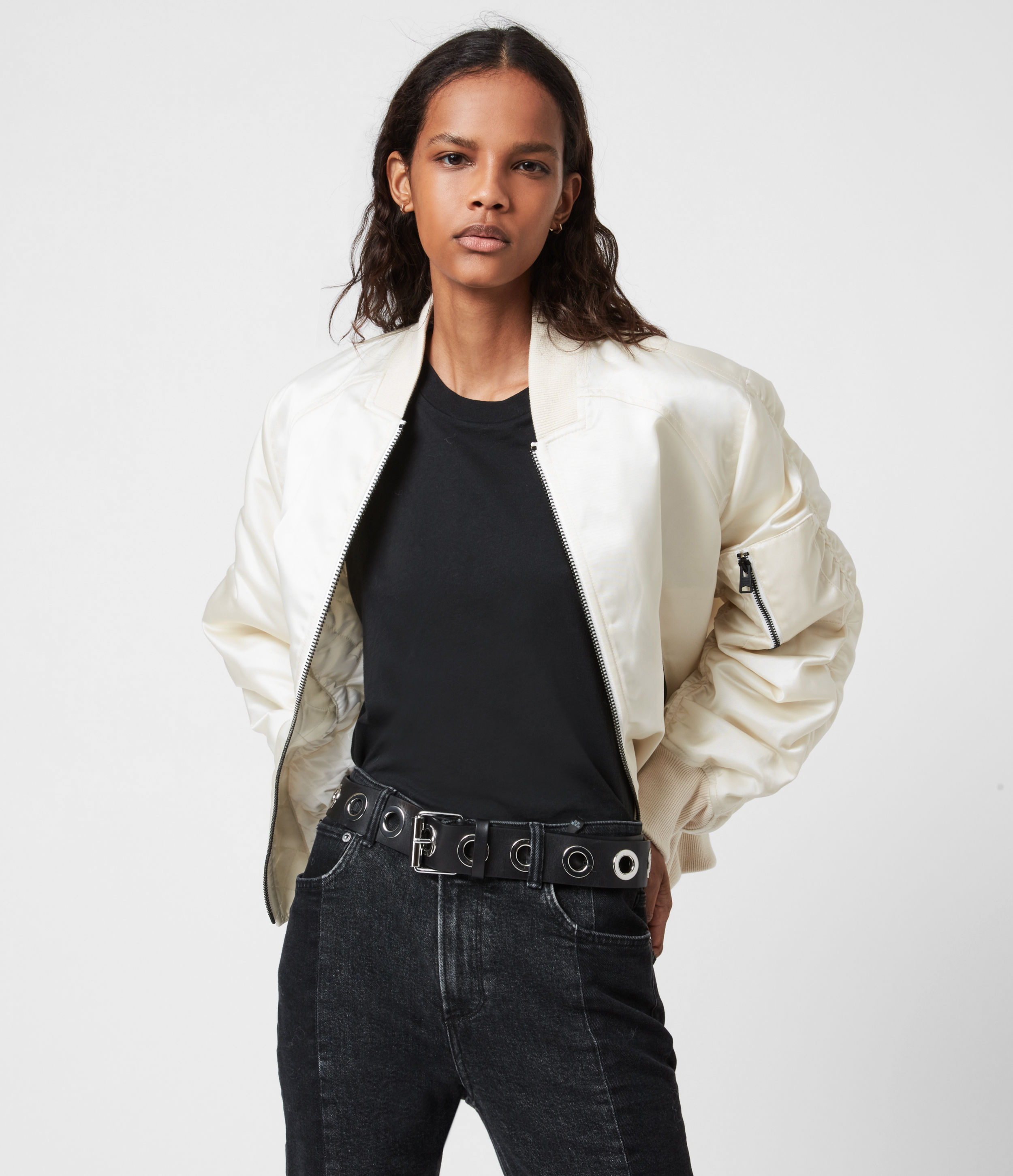 AllSaints Women's Cotton Relaxed Fit Robin Bomber Jacket, White, Size: 2